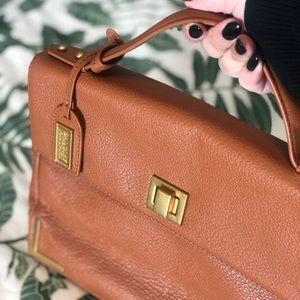 Badgley Mischka Brown Leather Satchel Handbag